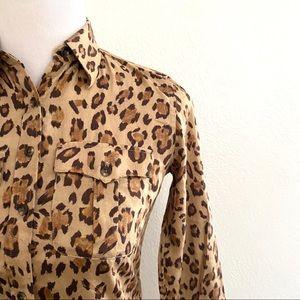 Ralph Lauren Leopard Print Shirt Dress Animal 4P
